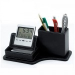 Leather Pen Holder with digital clock