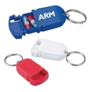 Capsule Shaped Pill Box Key Chain